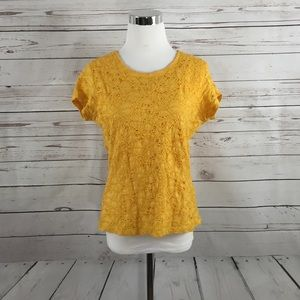 COLDWATER CREEK Yellow Lace Lined Blouse - Size M